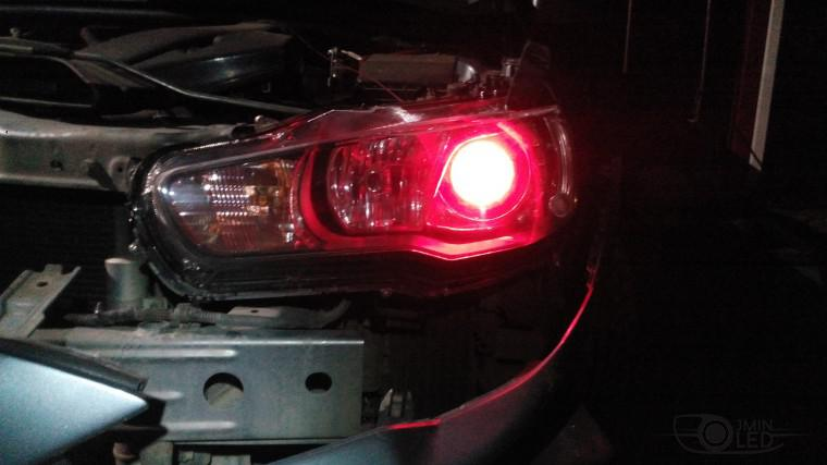 Тюнинг Mitsubishi Lancer X замена линз devil eyes (17)