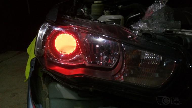 Тюнинг Mitsubishi Lancer X замена линз devil eyes (18)