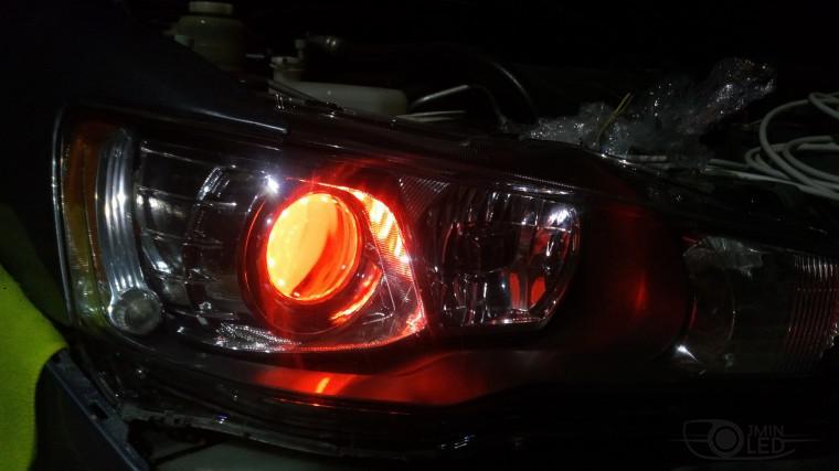 Тюнинг Mitsubishi Lancer X замена линз devil eyes (19)