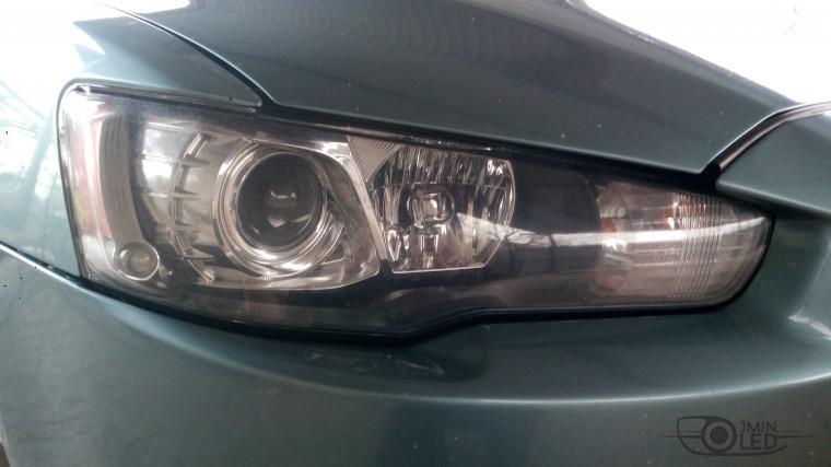Тюнинг Mitsubishi Lancer X замена линз devil eyes (2)
