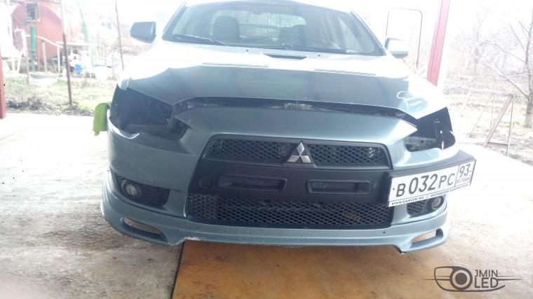 Тюнинг Mitsubishi Lancer X замена линз devil eyes (5)