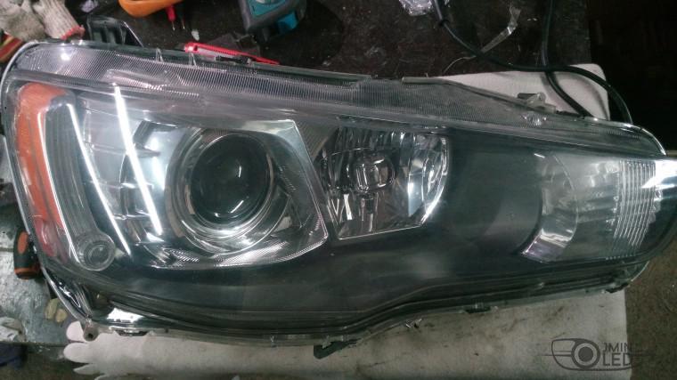 Тюнинг Mitsubishi Lancer X замена линз devil eyes (7)
