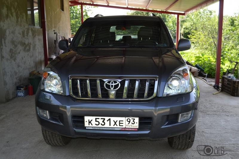 тюнинг фар Toyota Land Cruiser Prado 120 установка линз (28)