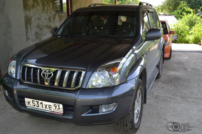 тюнинг фар Toyota Land Cruiser Prado 120 установка линз (29)